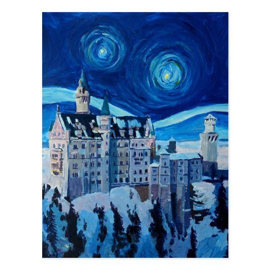 Starry Night With Romantic Castle Van Gogh Inspire Postcard Zazzle Com Starry Night Original Canvas Painting Painting