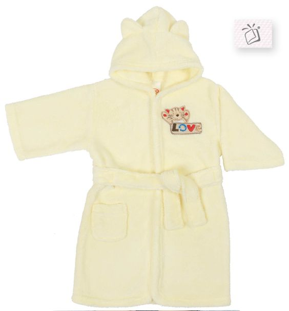 Roupão fleece microfibra bordado com capuz de orelhinha. Catálogo Baby - Pág. 67, Ref. 63489