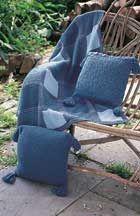 Classic Wool - Denim Plaid Blanket and Pillows (k)