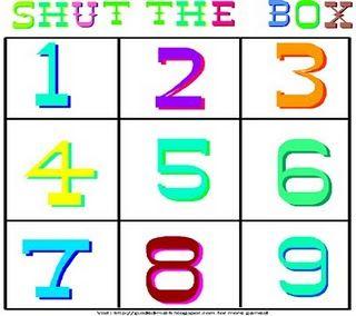 shut the box math addition game {free printable}