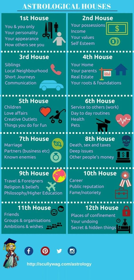 The 12 astrological houses and their meanings. Infographic explaining what each astrological house rules in an astrology chart. #astrology #houses #astrologicalhouses #housesinastrology #astrologyhouses