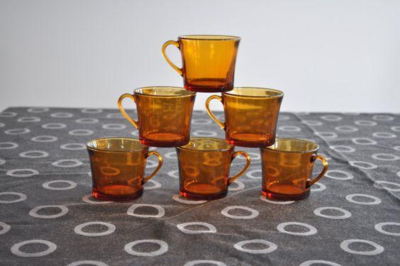 6 Tasses Duralex en verre ambré vintage/rétro  fait par 3rvintages