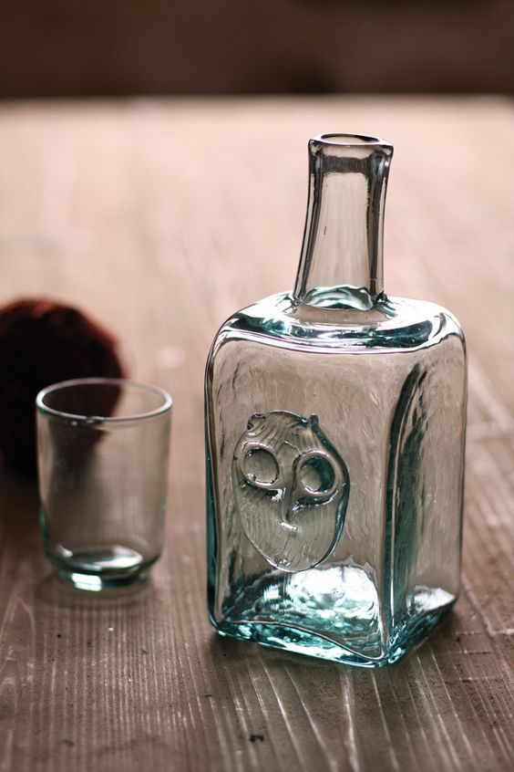 bedside water carafe with owl design | recycled glass carafe with drinking glass top and owl detail | Columbian glass