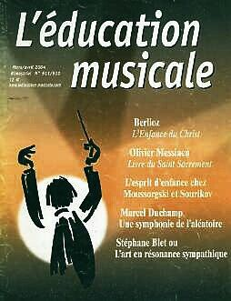 """Stéphane Blet, Hector Berlioz, Olivier Messiaen and Marcel Duchamp in """" L'Éducation musicale""""."""