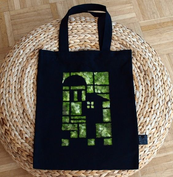 Tote bag handmade black fabric green stamp by archcessoires, $20.00