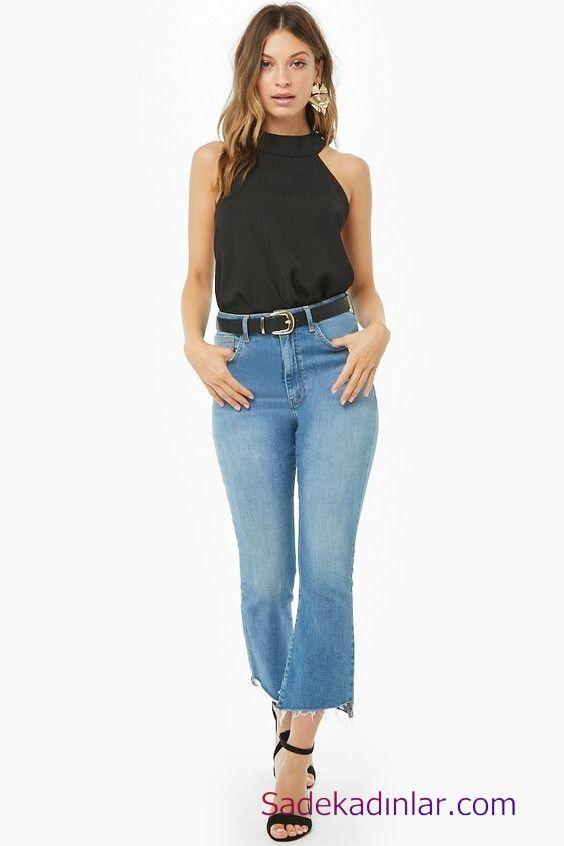 Siyah Gomlek Kombinleri Bayan Mavi Yuksel Bel Kot Pantolon Siyah Halter Yaka Gomlek Siyah Stiletto Ayakkabi Moda Stilleri Kadin Sokak Modasi Moda Kiyafetler