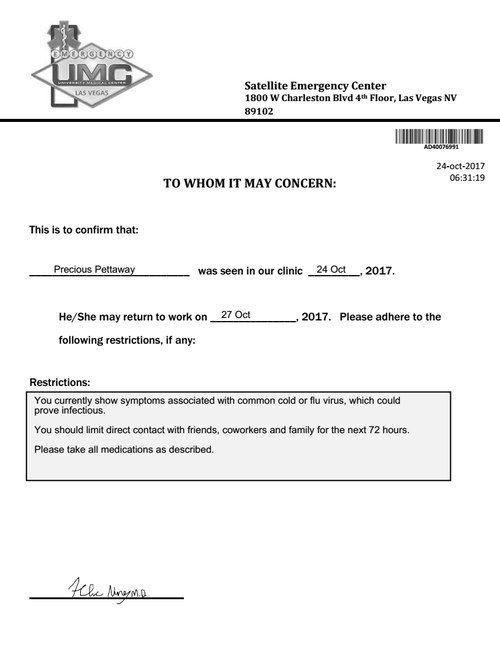 Medical Not E Umc Hospital With Images Doctors Note Template