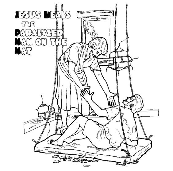 Coloring page of jesus 39 healing of the paralytic on a mat for Jesus heals a paralytic coloring page
