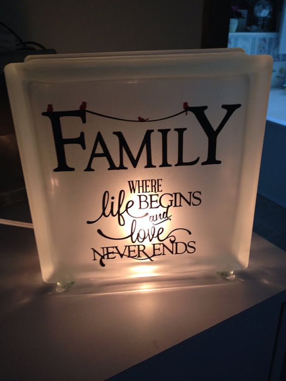 Frosted Glads block night light with verse on family and red birds. Block uses small night light bulb that is included. Sits on glass pebble feet.