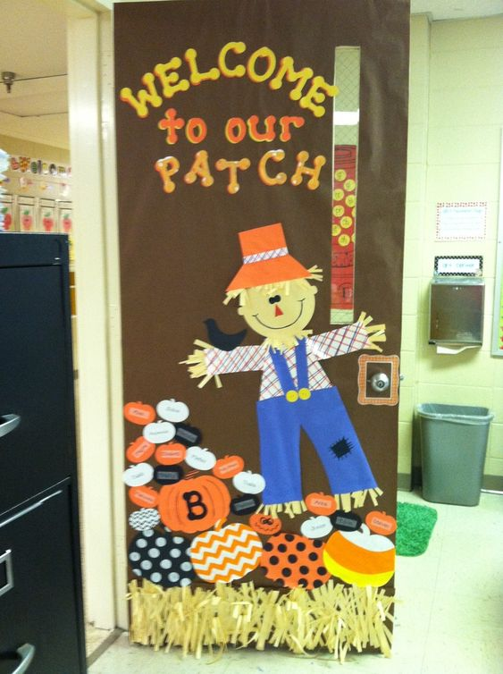 Scarecrow Door Decoration Classroom ~ Quot welcome to our patch write your students names on the