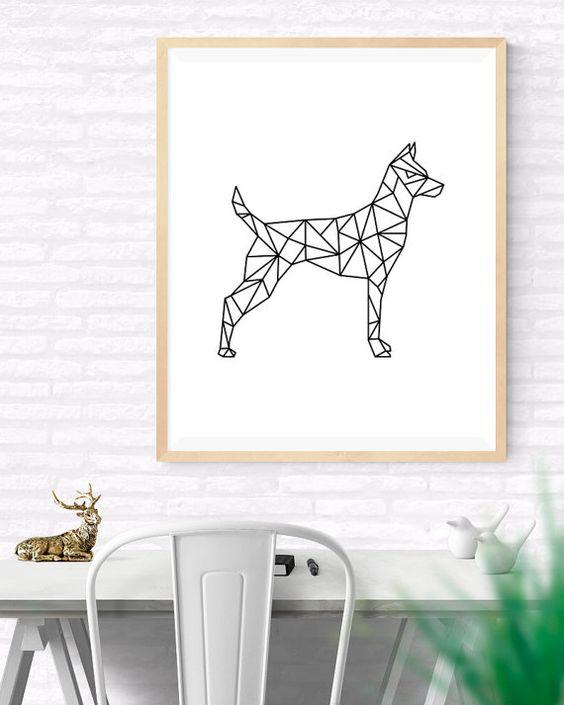origami art geometric dog printable wall art by. Black Bedroom Furniture Sets. Home Design Ideas