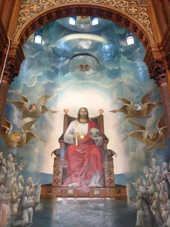 Lord jesus sitting at his most holy throne in the kingdom of heaven