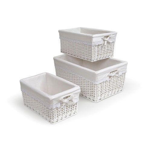 White Nursery Baskets w/Liners, Set of Three