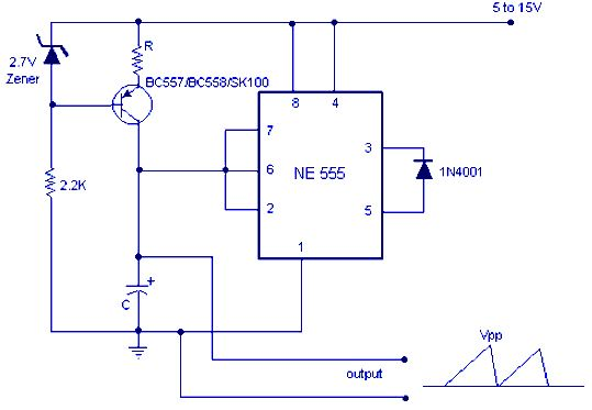 Working Principle Of Sawtooth Wave Generator Current Source Electrical Projects Generation