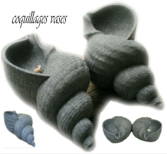 coquillages vase sculpté granit