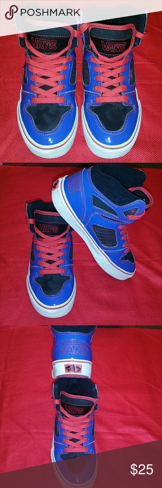 Kids sneakers Kids blue and red off the wall vans Vans Shoes Sneakers