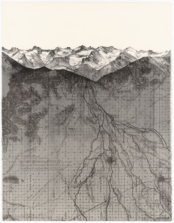 "A Transect-Due East, Matthew Rangel-Rangel Studio, lithograph ""a transect — Due…"