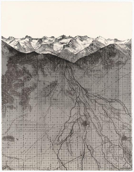 "A Transect-Due East, Matthew Rangel-Rangel Studio, lithograph ""a transect — Due…"