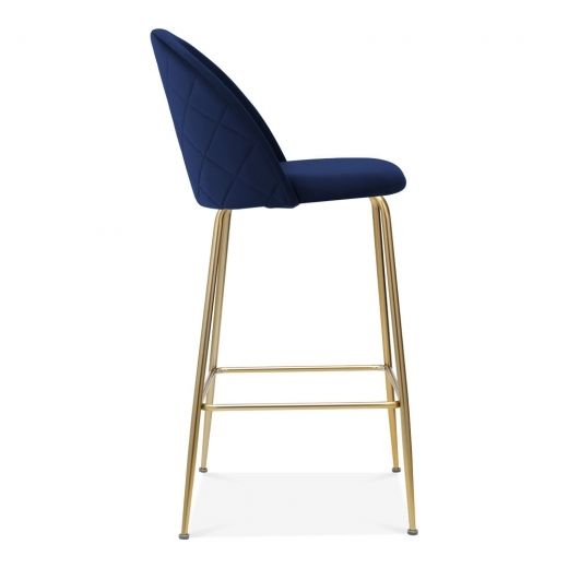 Heather Bar Stool With Backrest Velvet Upholstered Royal Blue 75cm Bar Stools Stool Kitchen Bar Stools
