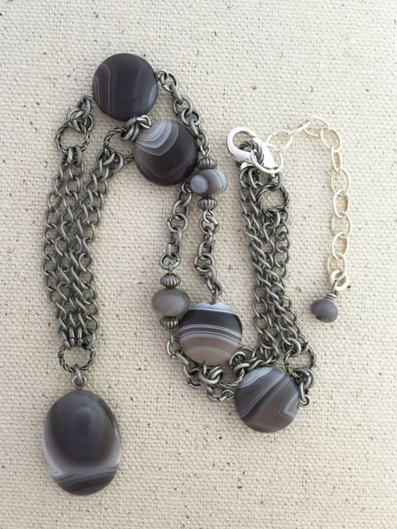 Tube Agate Pendant Necklace on Strand of Antique by Rock2Gems