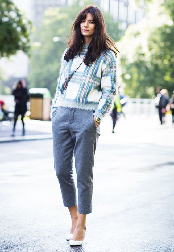 A plaid Stella McCartney sweater is paired with cropped pants and heels
