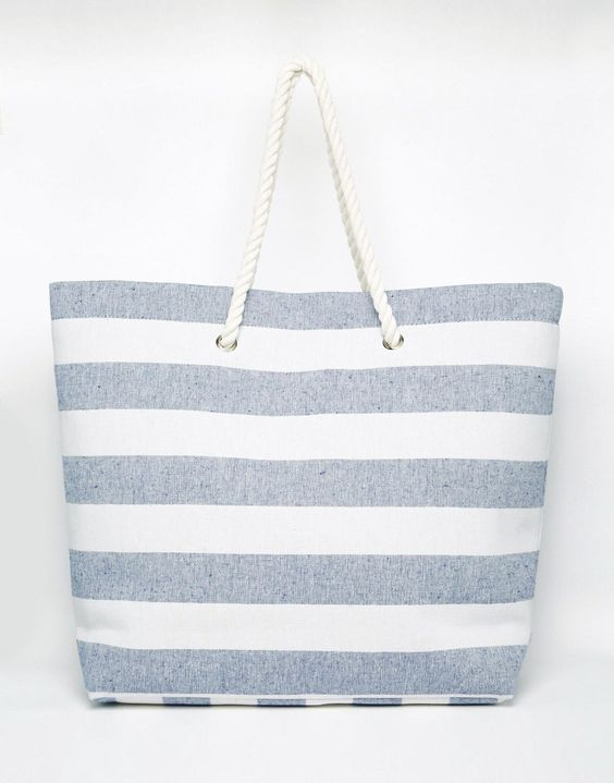 Image 1 of South Beach Navy Stripe Beach Bag | W I S H L I S T ...