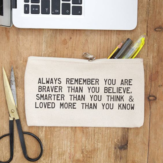 always remember you are braver ... pencil case - inspirational quote - pencil pouch - purse - student gift - back to school - teacher gift