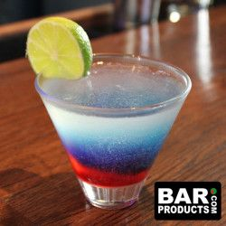 The RED - WHITE - BLUE Cocktail is an amazing and refreshing cocktails for this Memorial Day weekend and will surely keep a whole houseful of guests satisfied!Ingredients:- Vodka- Lemon Juice- Sugar- Blue curacaoHow to:- Mix vodka, sugar, and fresh squeezed lemon juice in shaker tin- pour into glass- Use spoon to sink grenadine to bottom of glass- Use spoon again to layer blue curacao on top of grenadine- Garnish with lemon or lime wheelFeatured and Related Products:  8oz BarConic®…