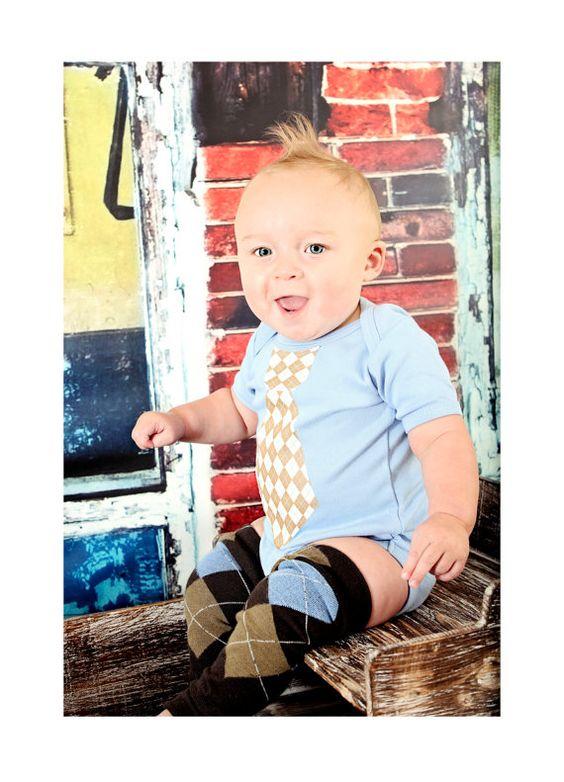 Summer Blues!  Baby Boy Blue Tie Onesie with Leg Warmers