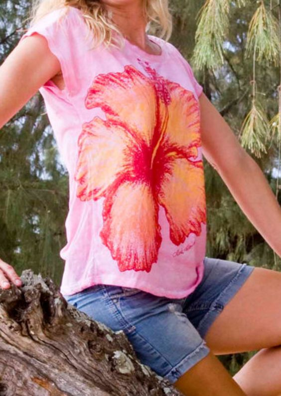 Light Weight Dolman T-shirt in Pink with Orange Giant Hibiscus