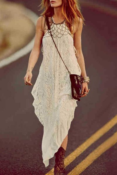 Lace Spliced Spaghetti Strap Maxi Dress