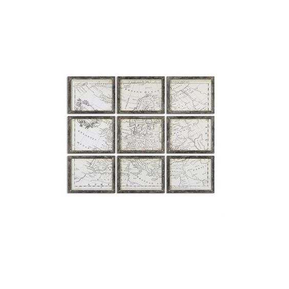 Uttermost Map Of Europe Grid Vintage Art, S/9 ❤ liked on Polyvore featuring home, home decor, wall art, vintage wall art, vintage home decor, european home decor, map wall art and map home decor