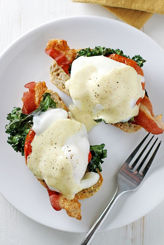 Healthier) Bacon, Kale and Roasted Tomato Eggs Benedict