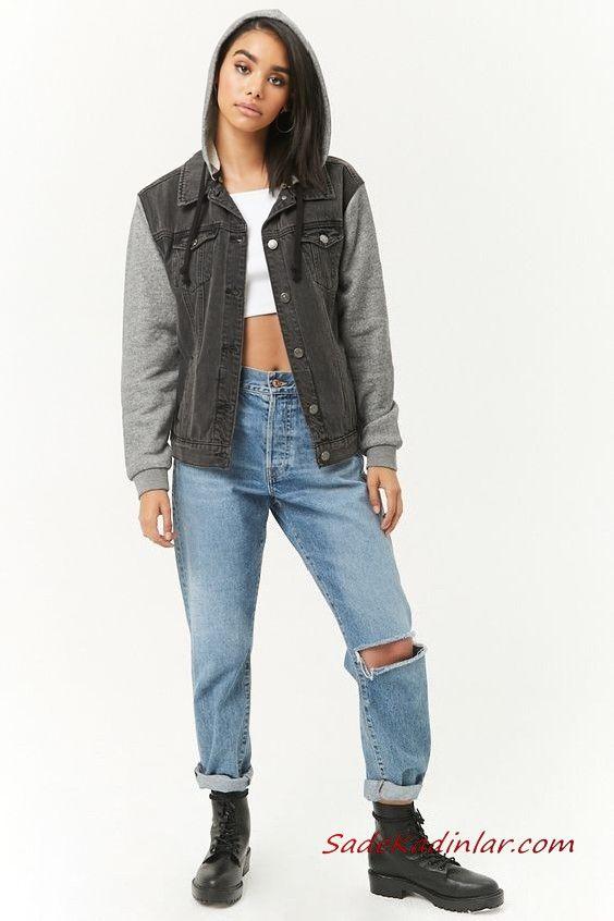 Bayan Pantolon Ceket Kombinleri Mavi Mom Jeans Beyaz Bustiyer Gri Kapsonlu Kot Ceket Siyah Postal Bot Kot Ceket Mont Kapsonlular