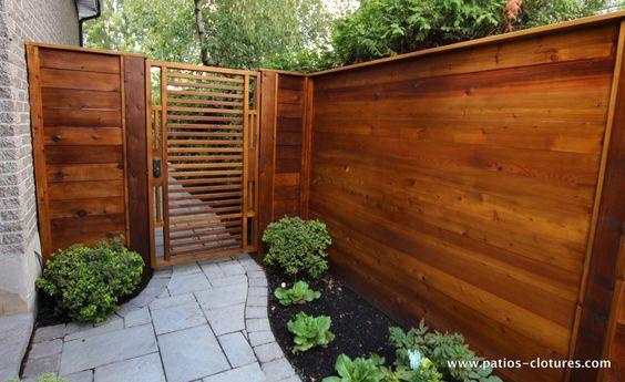 Porte de cl ture horizontale en bois de c dre mond for Porte barriere jardin