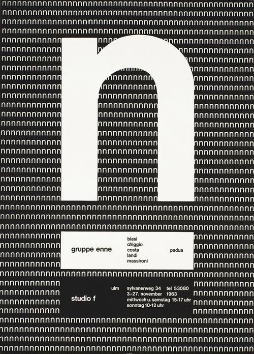 Almir Mavignier, exhibition poster gruppe enne, padua & studio f, ulm, 1963. Source. The Brazil­ian born painter and graphic designer stud­ied at the Ulm School of Design or hfg Ulm.