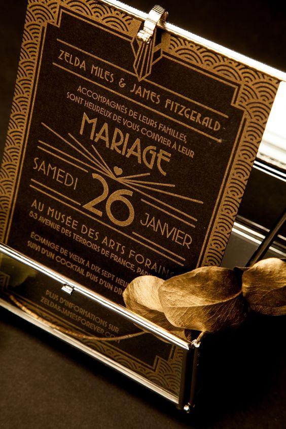 Faire-part Art Deco noir et dore - Faire-part: Mister M Studio save the date Collection x LFDP - Crédit Photo: Loove photography - La Fiancée du Panda blog Mariage et Lifestyle
