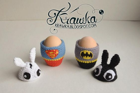 Superbunny and Bunnyman - Egg cozies - The Yarn Box The Yarn Box