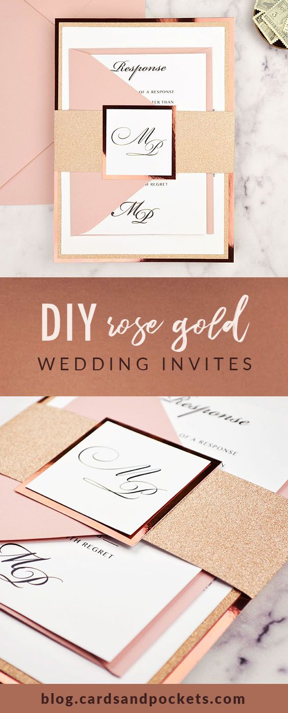 Diy Rose Gold Wedding Invitations Cards Pockets Design Idea Blog Rose Gold Wedding Invitations Wedding Invitations Diy Free Wedding Invitations
