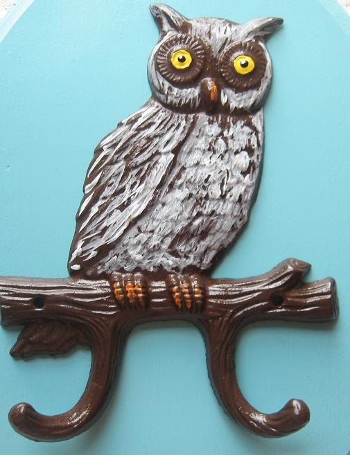 Hand Painted Cast Iron Owl Hook/Hanger by happybdaytome on Etsy,