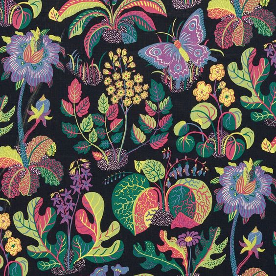 SCHUMACHER WILD BUTTERFLY FLORAL INSECT FABRIC 10 YARDS CLICK ON PHOTOS TO ENLARGE  COLORWAY: BLACK, MULTI REPEATS: V 31 , H 26 1/2  WIDTH: 54 1/2  CONTENTS: 100% LINEN  SUITABLE FOR ALL HOME DECOR PLEASE EMAIL WITH ANY QUESTIONS, AS THERE ARE NO RETURNS
