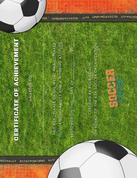 soccer award certificate designed by  roxanne buchholz 8 5