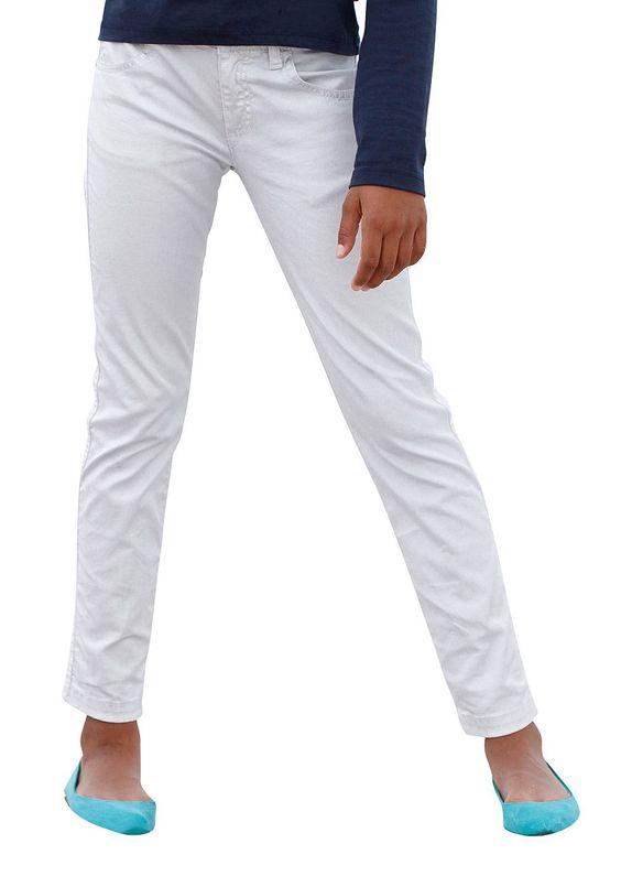 Produkttyp , Jeans, |Material , Jeans, |Materialzusammensetzung , Obermaterial: 92% Baumwolle, 5% Polyacryl, 3% Elasthan, |Farbe , Silberfarben, |Passform , Basic-Form, |Beinform , schmal, |Beinlänge , lang, |Leibhöhe , normal, |Bund + Verschluss , verstellbarer Innen-Gummizug bis Gr. 146, |Taschenanzahl , 5, |Vorder- und Seitentaschen , Eingriffstaschen schräg, kleine Münztasche, |Gesäßtaschen...