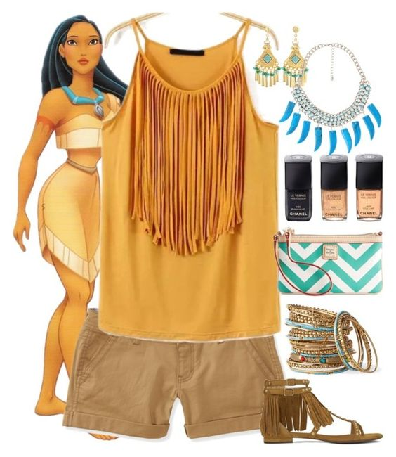 """Pocahontas - Casual - Disney Bound"" by rainbowbaconcupcake ❤ liked on Polyvore featuring Disney, Aéropostale, Cara Accessories, Yves Saint Laurent, Gerard Yosca, Chanel, Forever 21 and Dooney & Bourke"
