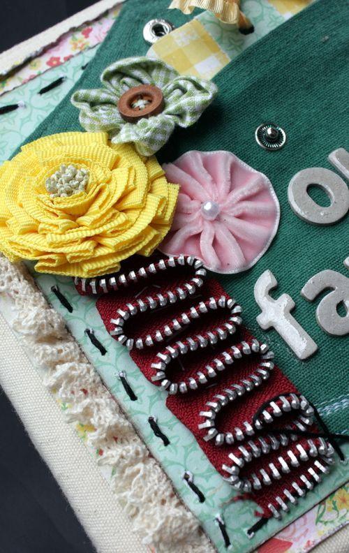 scrap book with zipper embellishments