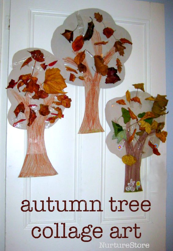 autumn tree collage art preschool :: great nature craft for fall :: fall tree craft: