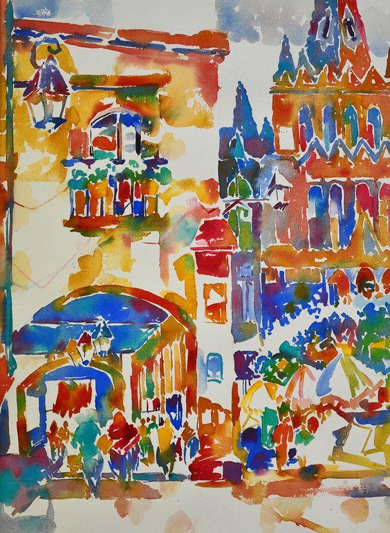 """Fiesta El Jardin, San Miguel de Allende, Watercolor, 21x29"""""""