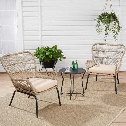 Mainstays Adina Bay Outdoor Patio Furniture 3 Piece Wicker Chat