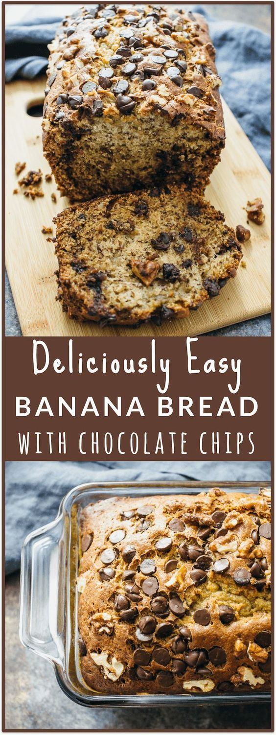 Banana bread with chocolate chips and walnuts - Heres an easy and healthy recipe for banana bread with chocolate chips and walnuts! This banana bread is wonderfully moist on the inside and has a nice crunchy golden crust on the outside. - http://savoryto