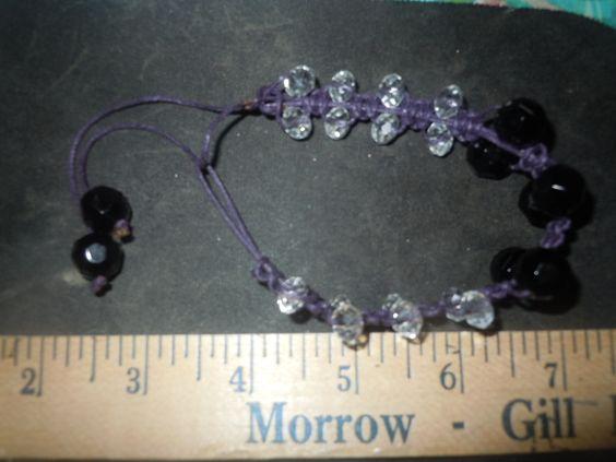 purple,black and clear beaded bracelet
